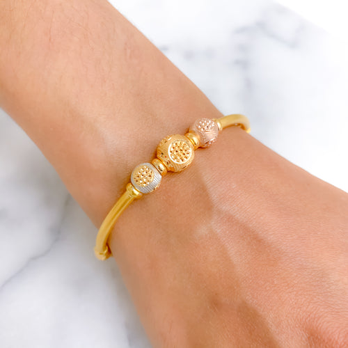 Three-tone Triple Orb Bangle Bracelet