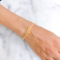 Modern Dual Finish CZ Bangle Bracelet