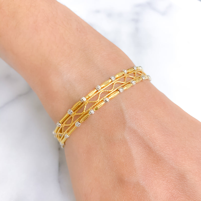 Jazzy Criss-Cross Bangle Bracelet