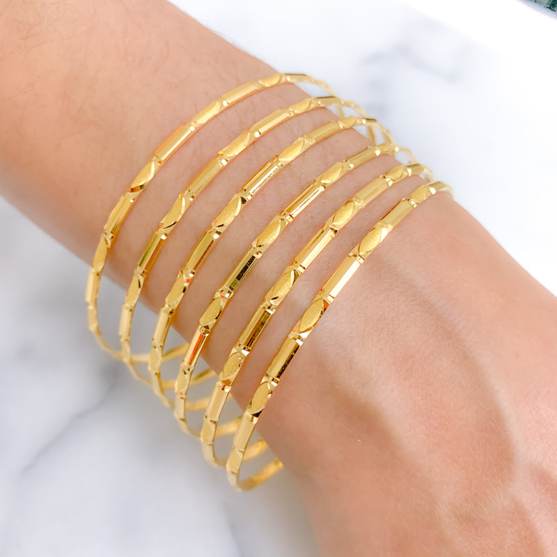 Alternating Matte Finish 6 Set Bangles