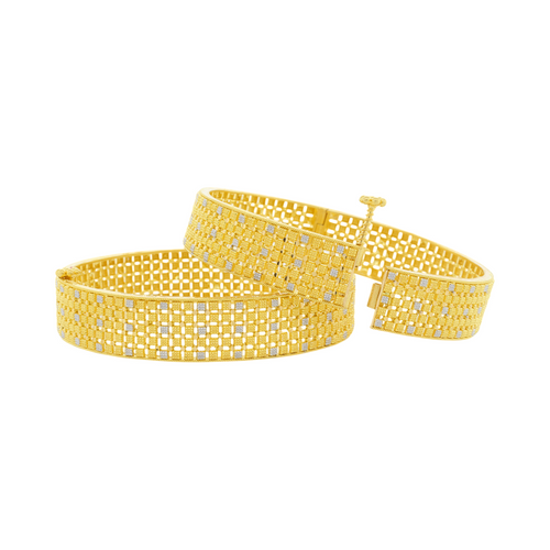 Checkered Two-Tone Bangles