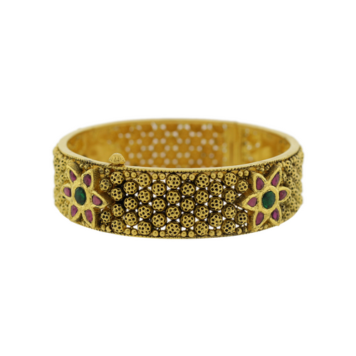 Antique Bangle with Flower Accent