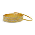 Alternating Bangles in Yellow & White Gold