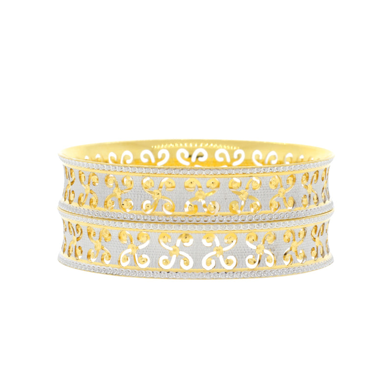 Broad Flower-cut Bangles