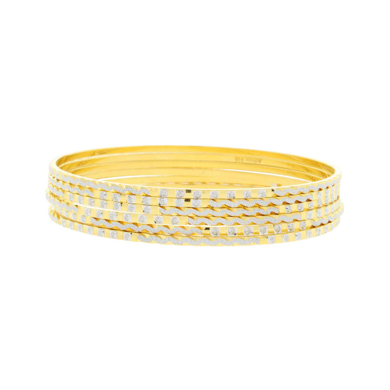 Alternating Yellow + White Gold Bangles