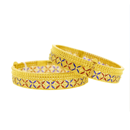 Gold Bangles With Blue & Red Meena