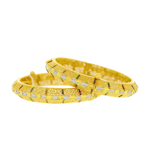Gold Bangles with Meena & Rhodium Accents