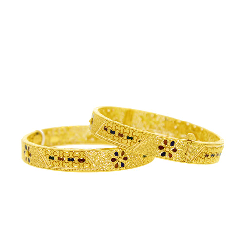 Gold Bangles with Meena Accents