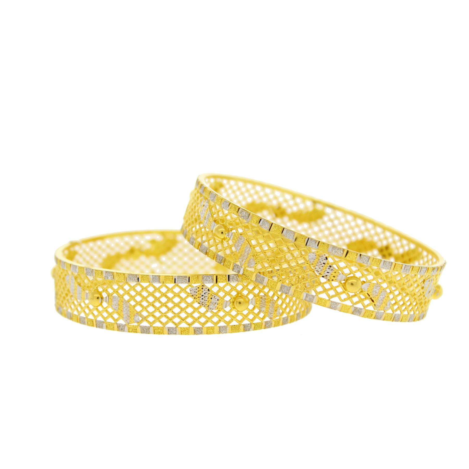 2-Tone Lightweight Gold Bangles – Andaaz Jewelers