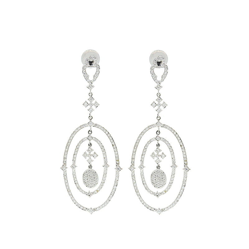 Oval Diamond Hanging Earrings