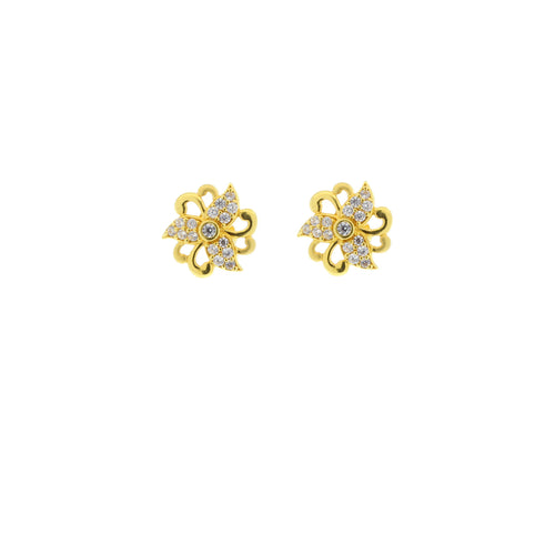 CZ Floral Earring Tops