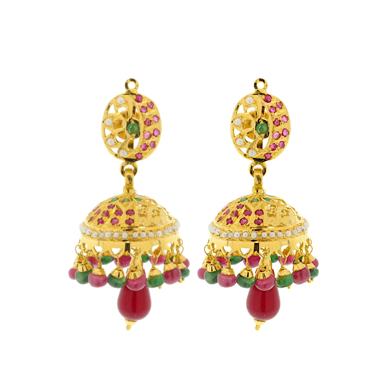 Ruby & Emerald Jhumka Earrings