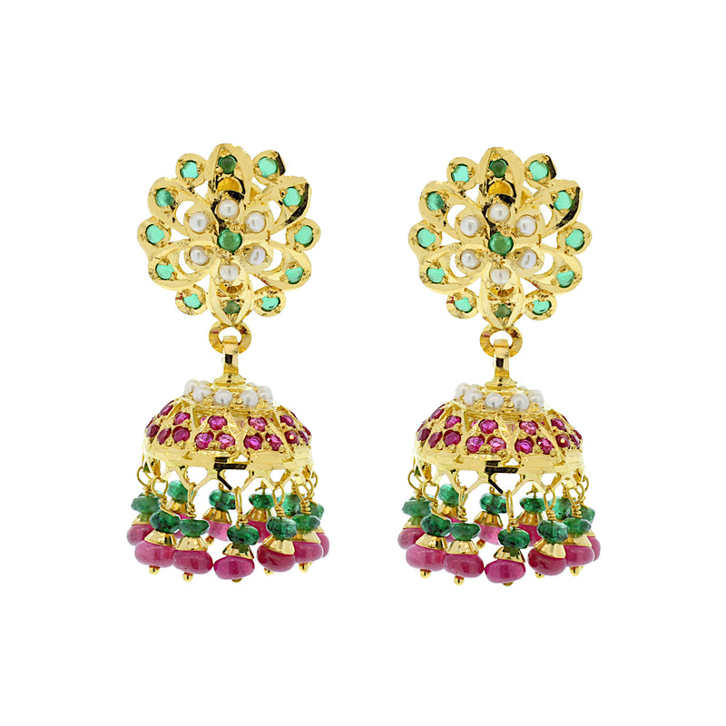 North-studded Jhumka Earrings