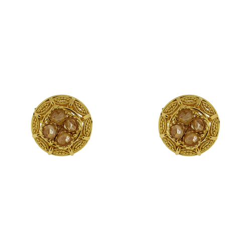 GOLD EARRING TOPS WITH CHAMPAGNE STONES