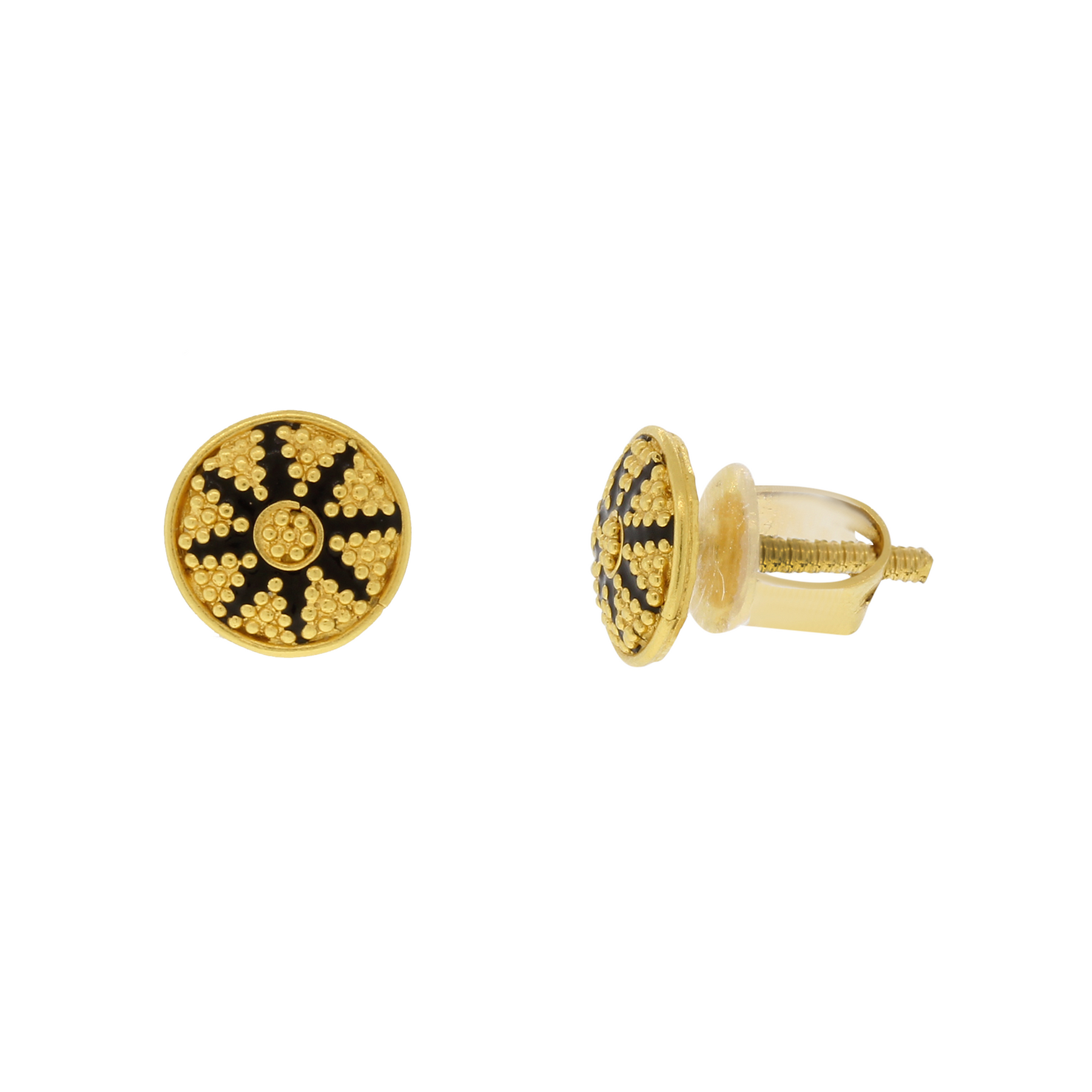 gold stud with earrings diamond kite in black