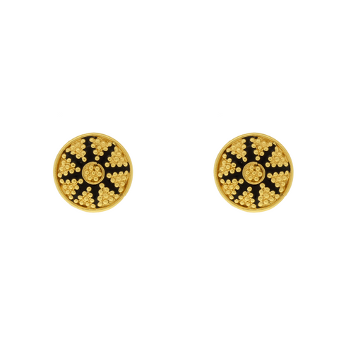 Gold Earrings with Black Meena