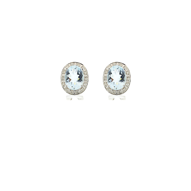 Aqua Marine & Diamond Earrings