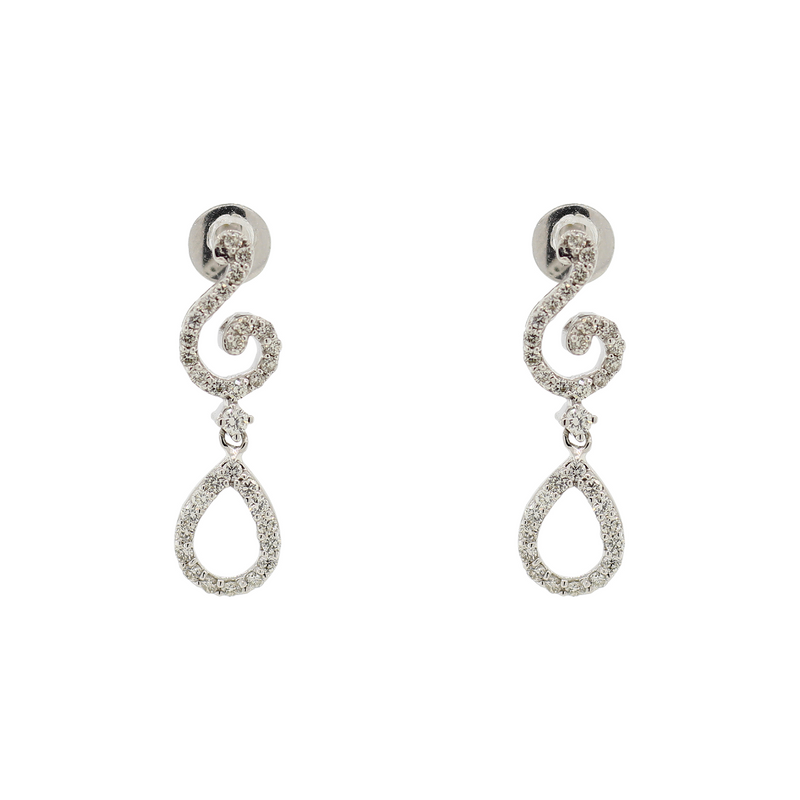 DIAMOND EARRINGS WITH PEARL SHAPED DROP