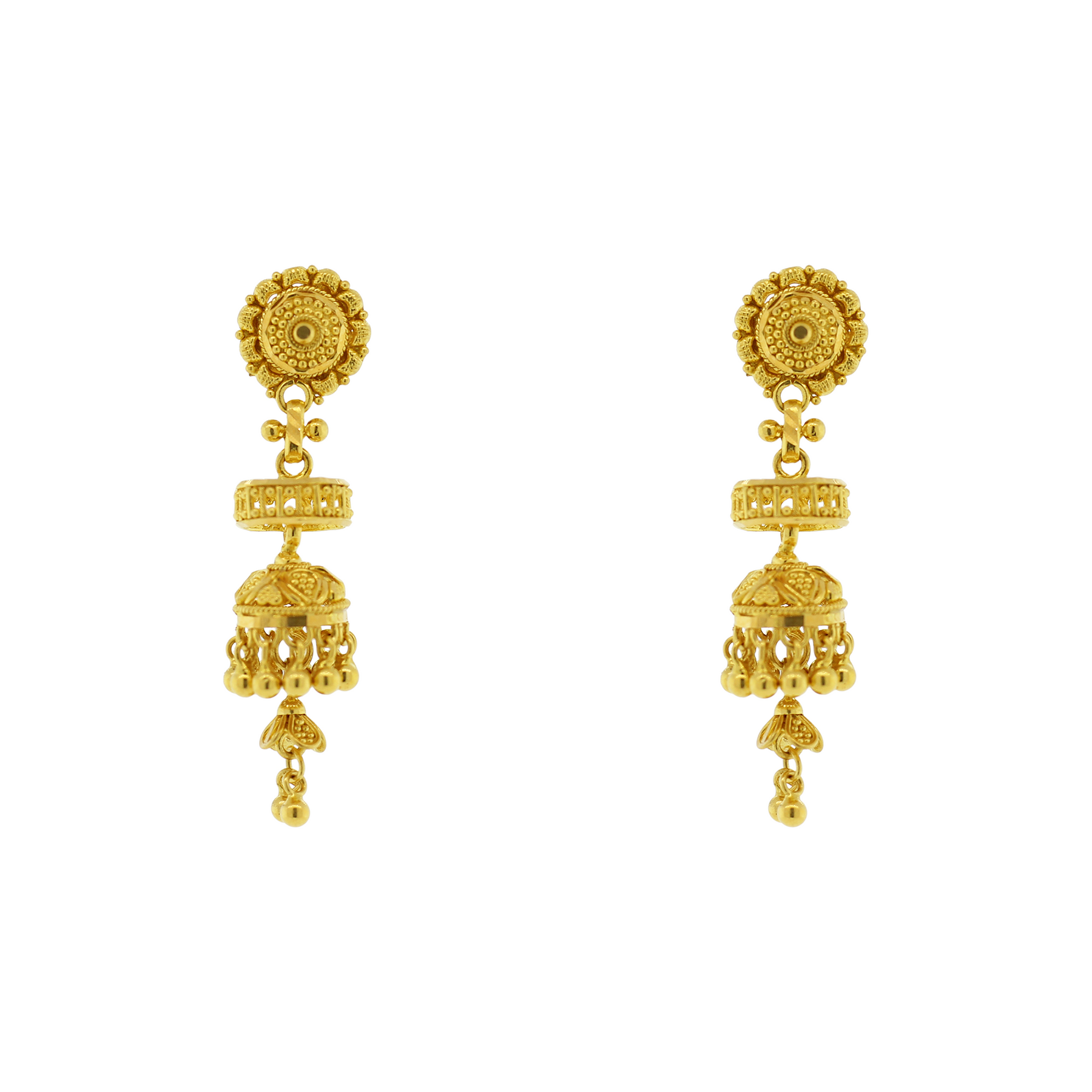 GOLD EARRINGS WITH HANGING JHUMKI – Andaaz Jewelers