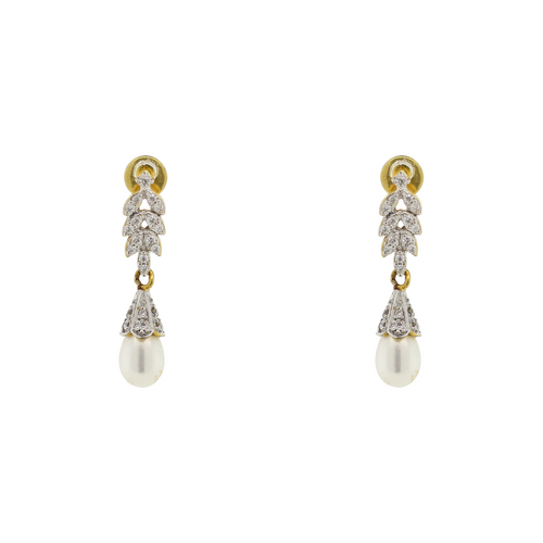 DIAMOND EARRING WITH PEARL DROP