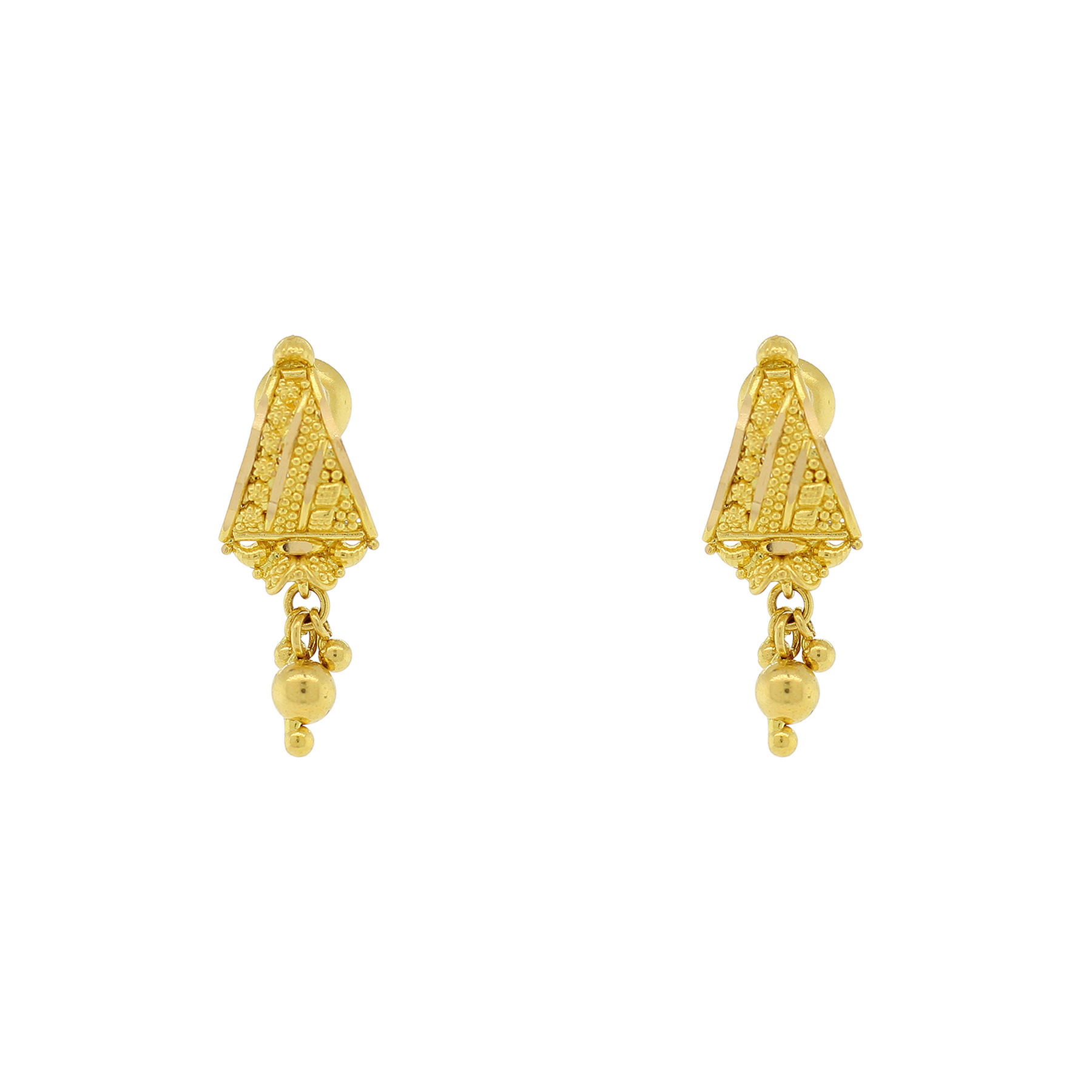 GOLD EARRINGS WITH HANGING DROP – Andaaz Jewelers