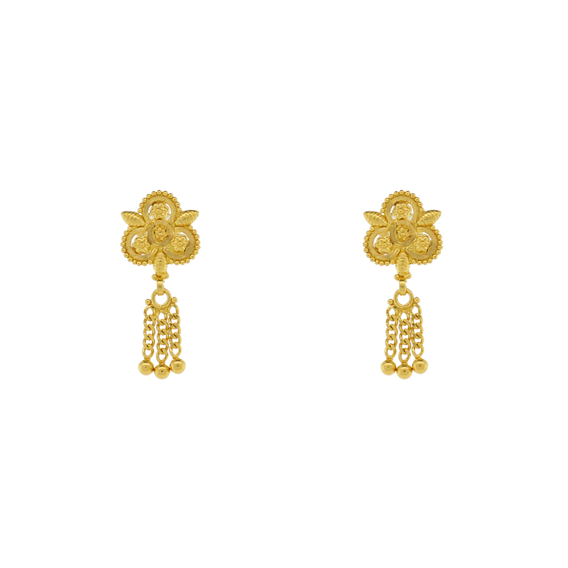 GOLD EARRINGS WITH SMALL HANGING DROP