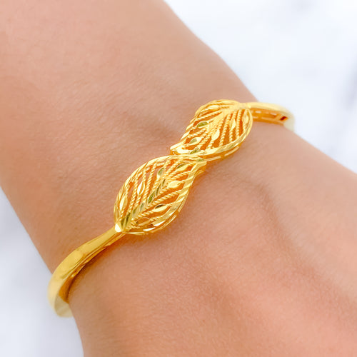 Striking Two Leaves Bangle Bracelet