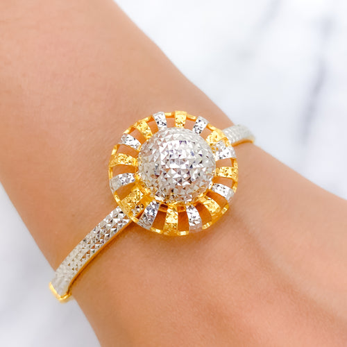 Shimmering Two-Tone Globe Bangle Bracelet