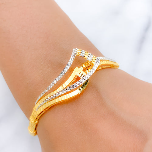 Glorious Two-Tone Bangle Bracelet