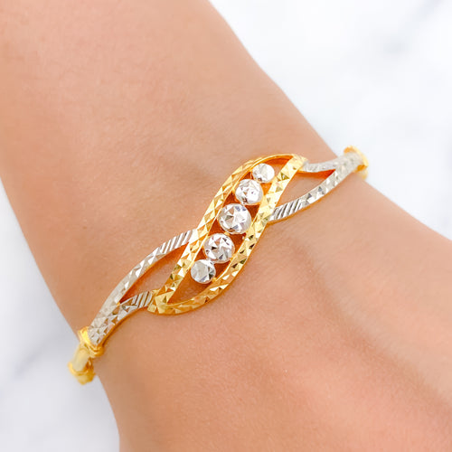 Lovely Two-Tone Bangle Bracelet