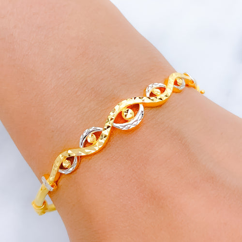Two-Tone Cross Wave Bangle Bracelet