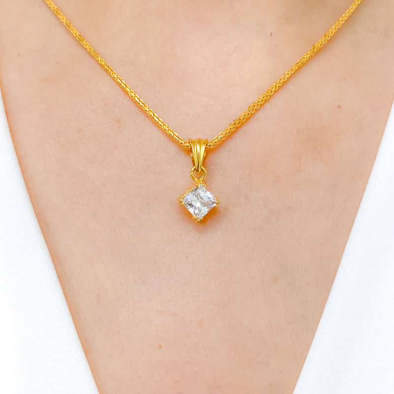 Simple Solitaire CZ Pendant Set
