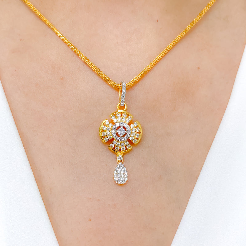 Posh Flower CZ Pendant Set