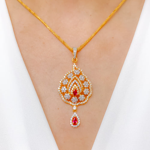 Exquisite Red Accent CZ Pendant Set