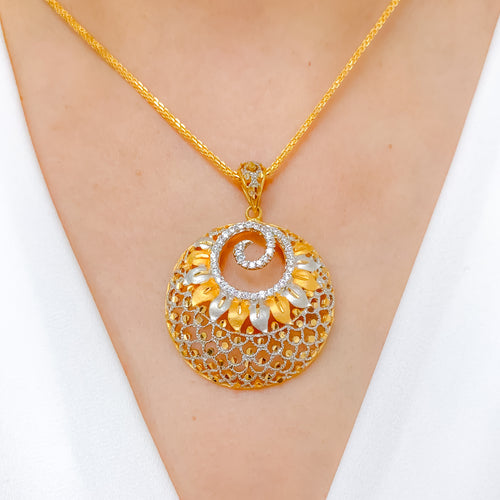 Grand Spiral CZ Pendant Set