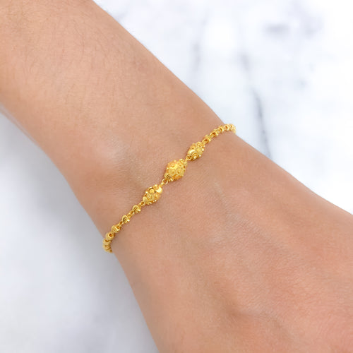 Three Bead Gold Bracelet