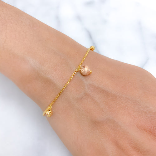 Three-Tone Gold Charm Bracelet