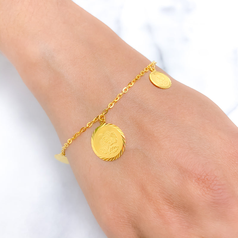 Alternating Coin Charm Bracelet