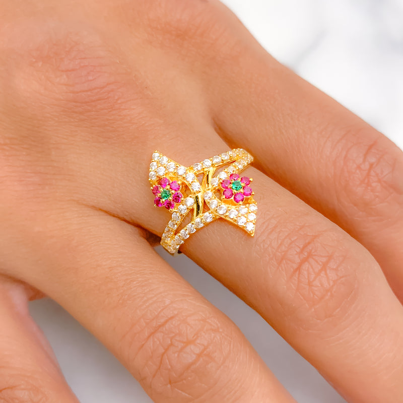 Ornate Colored CZ Ring
