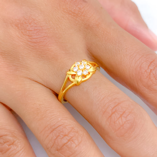 Lightweight Flower CZ Ring