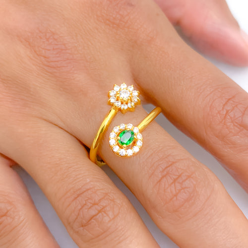 White & Green Round CZ in Floral Ring