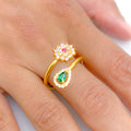 Green Pear & Floral CZ Ring