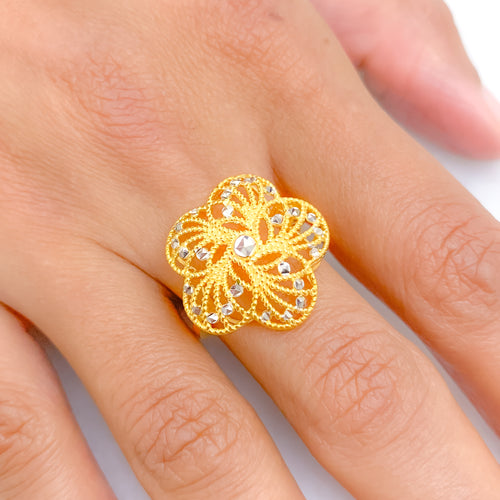 Modern Flower Two-Tone Ring