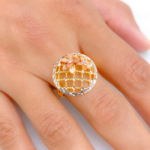 Rose Gold Floral Ring