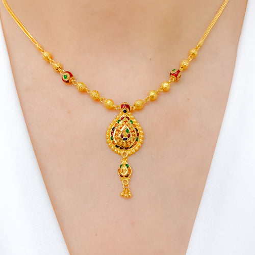 Classic Hanging Meena Necklace Set