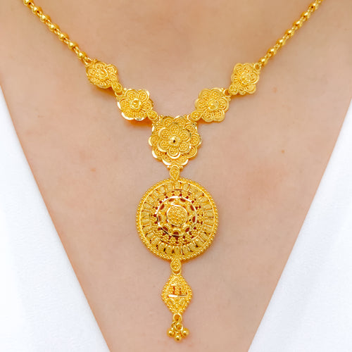 Circular Flower Necklace Set