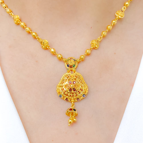 Hanging Jhumki Meena Necklace Set