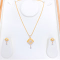 Contemporary Matte Finish CZ Pendant Set