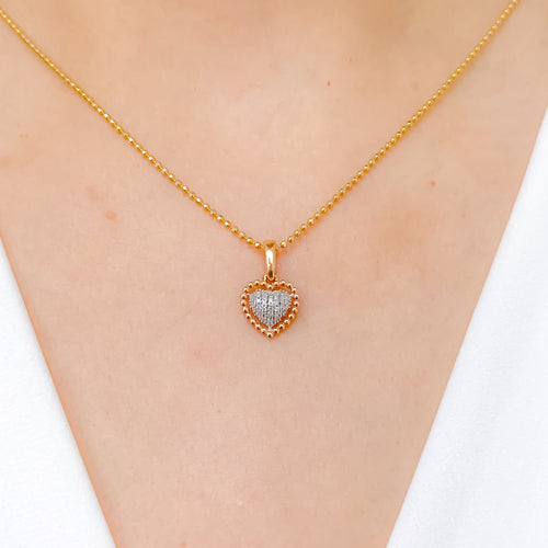 Rose Gold Heart Diamond Pendant