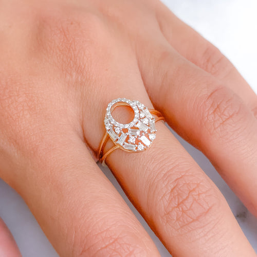 Stunning Round + Baguette Diamond Ring